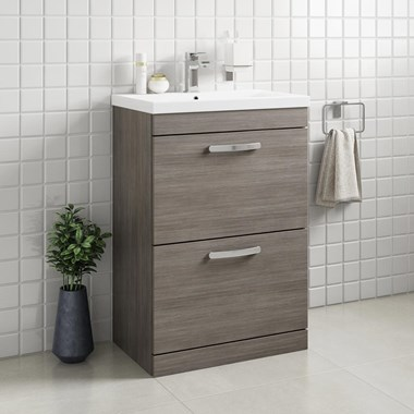 Drench Emily 600mm Floorstanding 2 Drawer Vanity Unit & Basin - Grey Avola