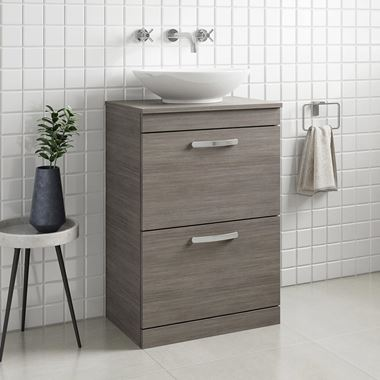 Drench Emily 600mm Floorstanding 2 Drawer Vanity Unit and Countertop - Grey Avola