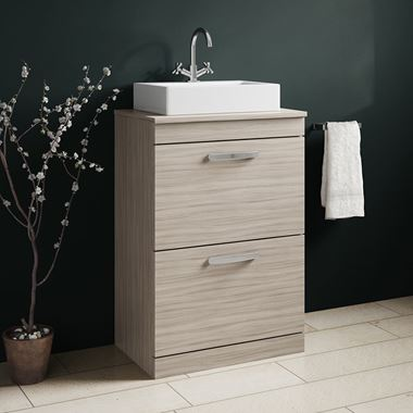 Drench Emily 600mm Floorstanding 2 Drawer Vanity Unit and Countertop - Driftwood