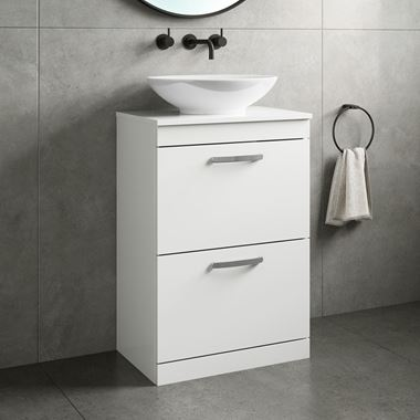 Drench Emily 600mm Floorstanding 2 Drawer Vanity Unit and Countertop - Gloss White