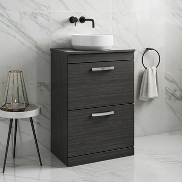 Drench Emily 600mm Floorstanding 2 Drawer Vanity Unit and Countertop - Hacienda Black