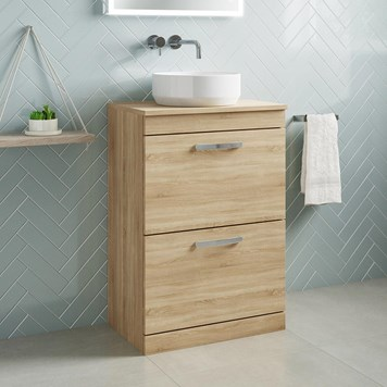Drench Emily 600mm Floorstanding 2 Drawer Vanity Unit and Countertop - Natural Oak