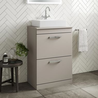 Drench Emily 600mm Floorstanding 2 Drawer Unit in Matt Stone Grey and Alana 450mm Countertop Basin