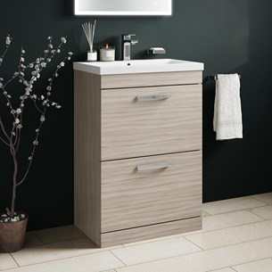 Drench Emily 600mm Floorstanding 2 Drawer Vanity Unit & Basin - Driftwood