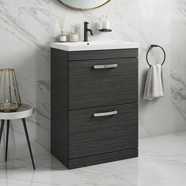Drench Emily 600mm Floorstanding 2 Drawer Vanity Unit & Basin - Hacienda Black
