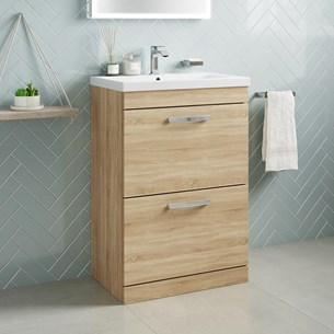 Drench Emily 600mm Floorstanding 2 Drawer Vanity Unit & Basin - Natural Oak