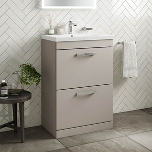 Drench Emily 600mm Floorstanding 2 Drawer Vanity Unit & Basin - Matt Stone Grey
