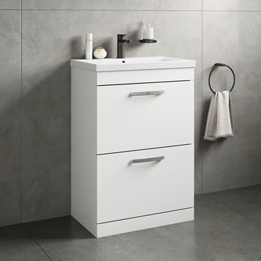 Drench Emily 600mm Floorstanding 2 Drawer Vanity Unit & Basin - Gloss White