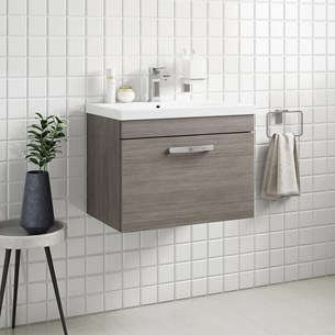 Drench Emily 600mm Wall Mounted 1 Drawer Vanity Unit & Basin - Grey Avola