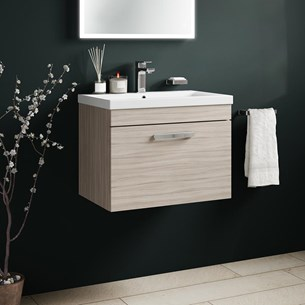 Drench Emily 600mm Wall Mounted 1 Drawer Vanity Unit & Basin - Driftwood