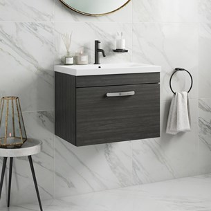 Drench Emily 600mm Wall Mounted 1 Drawer Vanity Unit & Basin - Hacienda Black