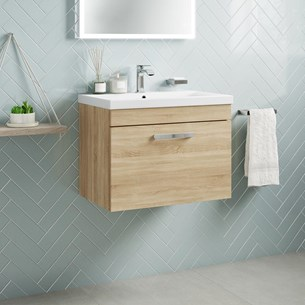 Drench Emily 600mm Wall Mounted 1 Drawer Vanity Unit & Basin - Natural Oak