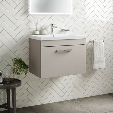Drench Emily 600mm Wall Mounted 1 Drawer Vanity Unit & Basin - Matt Stone Grey