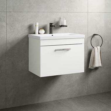 Drench Emily 600mm Wall Mounted 1 Drawer Vanity Unit & Basin - Gloss White