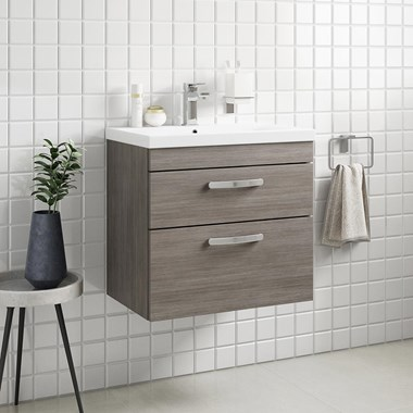 Drench Emily 600mm Wall Mounted 2 Drawer Vanity Unit & Basin - Grey Avola