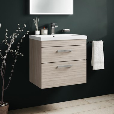 Drench Emily 600mm Wall Mounted 2 Drawer Vanity Unit & Basin - Driftwood
