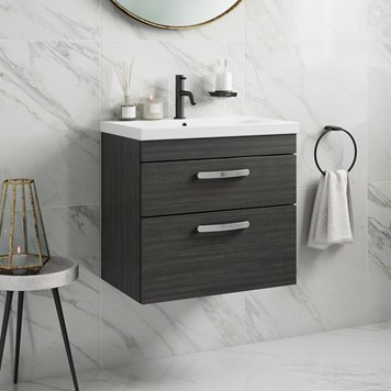 Drench Emily 600mm Wall Mounted 2 Drawer Vanity Unit & Basin - Hacienda Black
