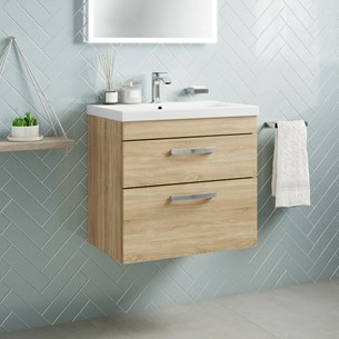 Drench Emily 600mm Wall Mounted 2 Drawer Vanity Unit & Basin - Natural Oak