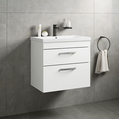 Drench Emily 600mm Wall Mounted 2 Drawer Vanity Unit & Basin - Gloss White