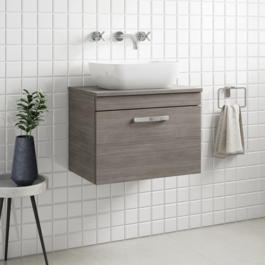 Drench Emily 600mm Wall Mounted 1 Drawer Vanity Unit and Countertop - Grey Avola