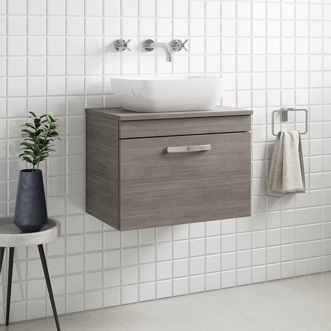 Drench Emily 600mm Wall Mounted 1 Drawer Vanity Unit and Countertop - Brown Grey Avola