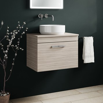 Drench Emily 600mm Wall Mounted 1 Drawer Vanity Unit and Countertop - Driftwood