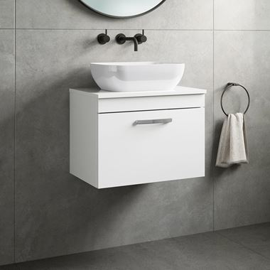Drench Emily 600mm Wall Mounted 1 Drawer Vanity Unit and Countertop - Gloss White
