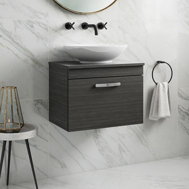 Drench Emily 600mm Wall Mounted 1 Drawer Vanity Unit and Countertop - Hacienda Black