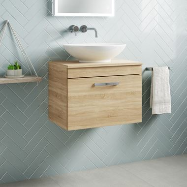Drench Emily 600mm Wall Mounted 1 Drawer Vanity Unit and Countertop - Natural Oak