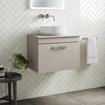 Drench Emily 600mm Wall Mounted 1 Drawer Vanity Unit and Countertop - Matt Stone Grey