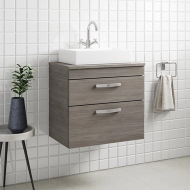 Drench Emily 600mm Wall Mounted 2 Drawer Vanity Unit and Countertop - Grey Avola