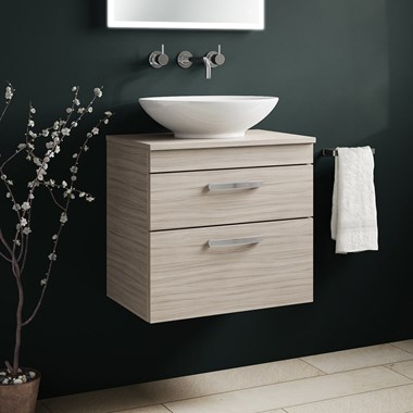 Drench Emily 600mm Wall Mounted 2 Drawer Vanity Unit and Countertop - Driftwood