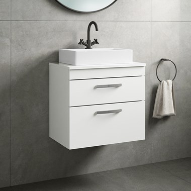 Drench Emily 600mm Wall Mounted 2 Drawer Vanity Unit and Countertop - Gloss White