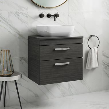 Drench Emily 600mm Wall Mounted 2 Drawer Vanity Unit and Countertop - Hacienda Black
