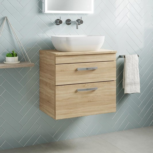 Drench Emily 600mm Wall Mounted 2 Drawer Vanity Unit and Countertop - Natural Oak