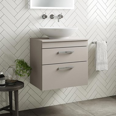 Drench Emily 600mm Wall Mounted 2 Drawer Vanity Unit and Countertop - Matt Stone Grey