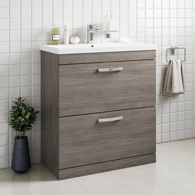 Drench Emily 800mm Floorstanding 2 Drawer Vanity Unit & Basin - Grey Avola