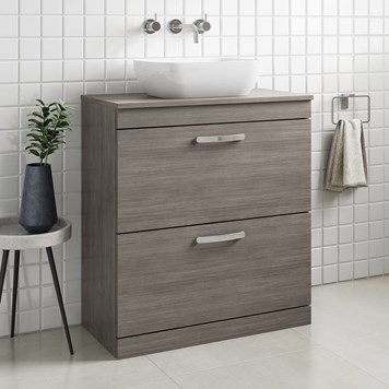 Drench Emily 800mm Floorstanding 2 Drawer Vanity Unit and Countertop - Grey Avola
