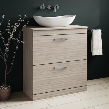 Drench Emily 800mm Floorstanding 2 Drawer Vanity Unit and Countertop - Driftwood