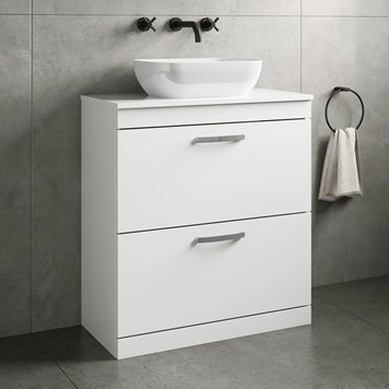 Drench Emily 800mm Floorstanding 2 Drawer Vanity Unit and Countertop - Gloss White