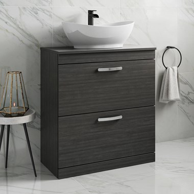 Drench Emily 800mm Floorstanding 2 Drawer Vanity Unit and Countertop - Hacienda Black