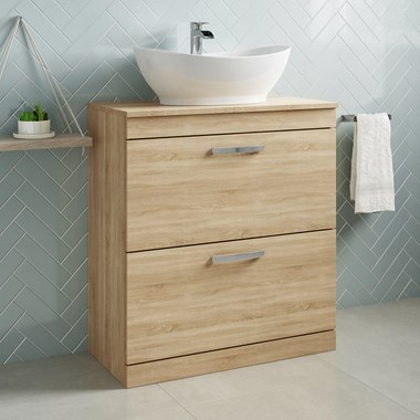 Drench Emily 800mm Floorstanding 2 Drawer Vanity Unit and Countertop - Natural Oak