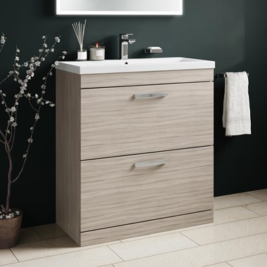Drench Emily 800mm Floorstanding 2 Drawer Vanity Unit & Basin - Driftwood