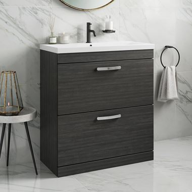 Drench Emily 800mm Floorstanding 2 Drawer Vanity Unit & Basin - Hacienda Black