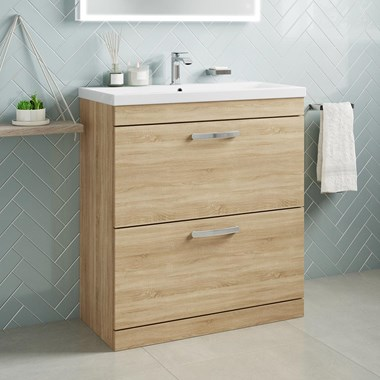 Drench Emily 800mm Floorstanding 2 Drawer Vanity Unit & Basin - Natural Oak