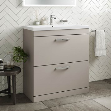 Drench Emily 800mm Floorstanding 2 Drawer Vanity Unit & Basin - Matt Stone Grey