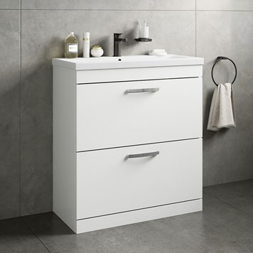 Drench Emily 800mm Floorstanding 2 Drawer Vanity Unit & Basin - Gloss White