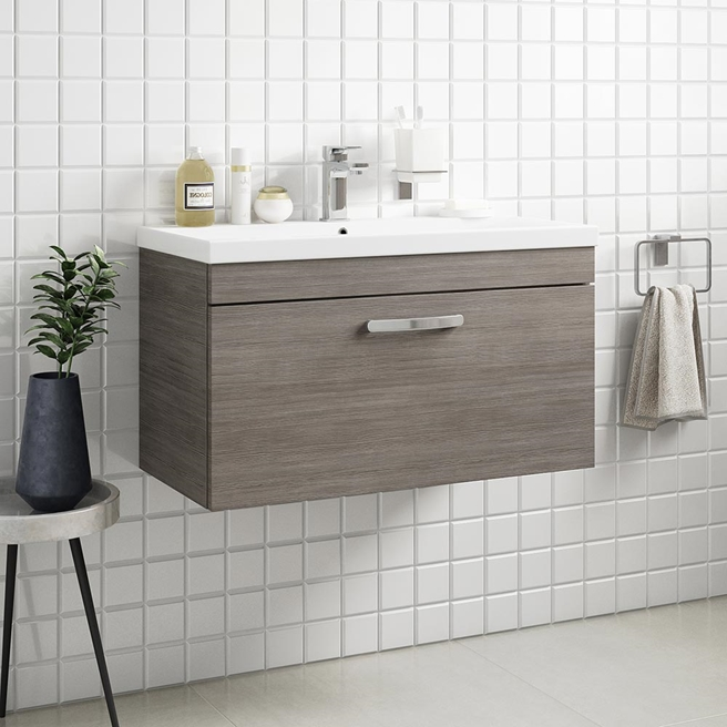Drench Emily 800mm Wall Mounted 1 Drawer Vanity Unit & Basin - Brown Grey Avola