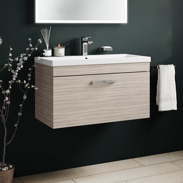 Drench Emily 800mm Wall Mounted 1 Drawer Vanity Unit & Basin - Driftwood