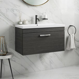 Drench Emily 800mm Wall Mounted 1 Drawer Vanity Unit & Basin - Hacienda Black